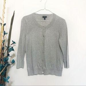Talbots Cardigan 🦚 Shimmer Grey Metallic Sweater